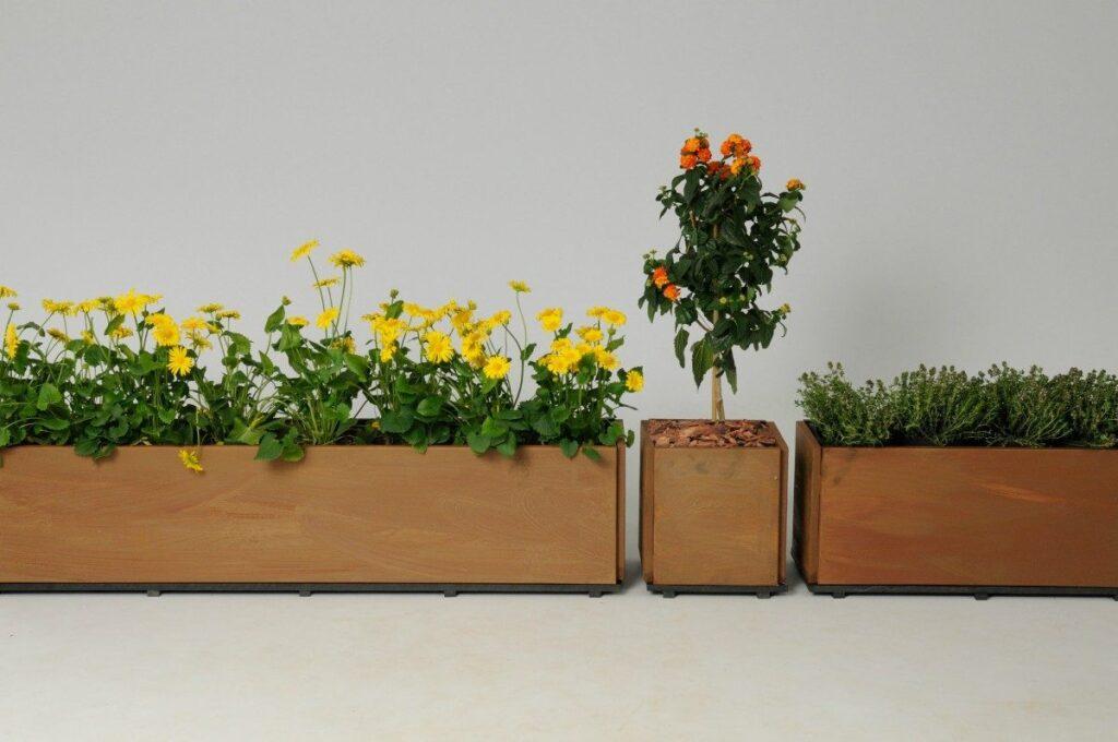 Window lådor eller blomlådor på balkongen eller staden eller balkong i rost