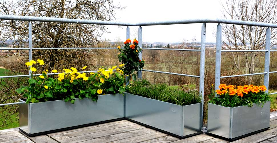 Blomlådor på balkongen eller terrassen