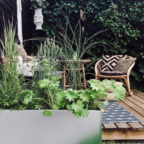 Land Classic avlång odlingslåda vid terrassen, foto Annes Finurlige Univers