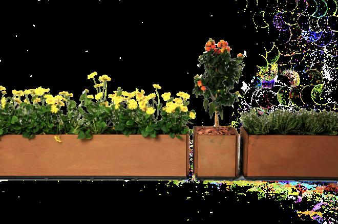 Balkonglådor rost i olika storlekar med bottenplattor från Land Garden