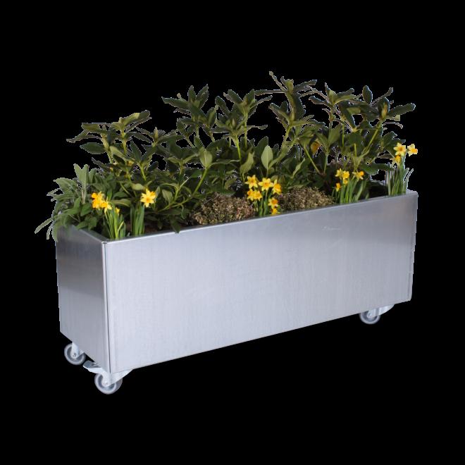 Avlång 40x120cm planteringskärl på hjul sett från sidan