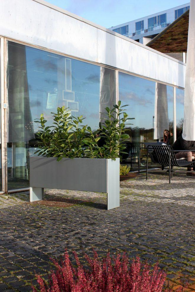 Land Modern Slim odlingsbänk från LandGarden.se ved kafé