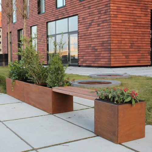Bänk med 40 x 40 och 40 x 240 cm Land Modern planteringskärl
